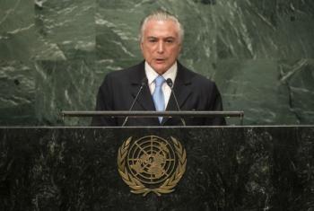 Michel Temer em discurso na Assembleia Geral da ONU. Foto: ONU/Cia Pak