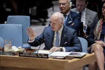 Staffan de Mistura em discurso no Conselho de Segurança. Foto: ONU/Kim Haughton