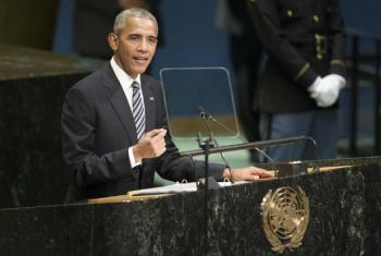 Barack Obama emseu último discurso na Assembleia Geral da ONU. Foto: ONU/Manuel Elias