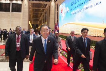 Ban Ki-moon (ao centro) na Cúpula das Nações Unidas e da Associação dos Países do Sudeste Asiático. Foto: ONU/Eskinder Debebe