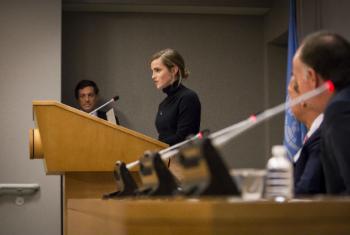 Embaixadora da Boa Vontade da ONU Mulheres, Emma Watson, em coletiva de imprensa para lançar o relatório HeForShe IMPACT 10x10x10 sobre paridade de gênero em universidades. Foto: ONU/Laura Jarriel