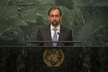 Zeid Al Hussein em discurso na Assembleia Geral. Foto: ONU/Cia Pak