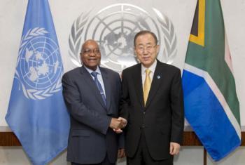 Jacob Zuma em encontro com Ban Ki-moon. Foto: ONU/Rick Bajornas