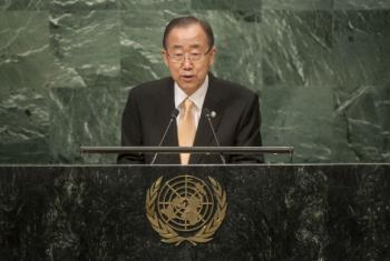 Ban Ki-moon discursa na Assembleia Geral nesta terça-feira. Foto: ONU/Cia Pak