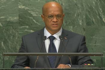 Luís Filipe Tavares em discurso na Assembleia Geral da ONU. Foto: Reprodução vídeo Webcast ONU