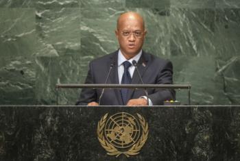 Luis Filipe Tavares em discurso na Assembleia Geral da ONU. Foto: ONU/ Cia Pak