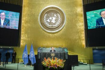 Ban em discurso na Assembleia Geral. Foto: ONU/Rick Bajornas