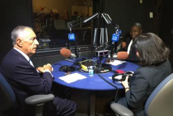 Marcelo Rebelo de Sousa fala à Rádio ONU durante Assembleia Geral. Foto: Rádio ONU
