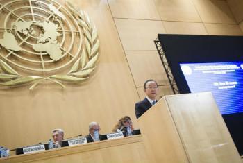 Ban Ki-moon discursa na reunião do Comitê Executivo da Agência da ONU para Refugiados, em Genebra.Foto: ONU/Rick Bajornas