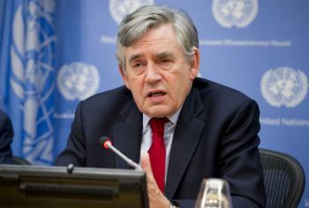 Gordon Brown nesta quinta-feira, 27 de outubro, na sede da ONU em Nova York. Foto: ONU/Rick Bajornas