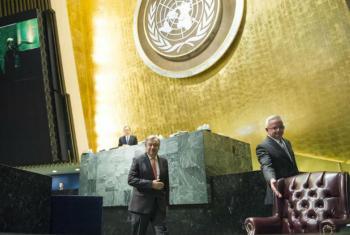 António Guterres na Assembleia Geral, nesta quinta-feira, 13 de outubro de 2016. Foto: ONU/Rick Bajornas