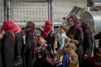 Iraquianos deslocados fazem fila para receber água e alimentos em campo para deslocados internos em Erbil.Foto: Acnur/Ivor Prickett