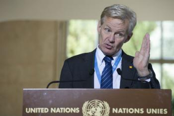 Jan Egeland em coletiva de imprensa em Genebra. Foto: ONU/Luca Solari
