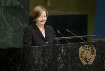 Silvia Fernandez Gurmendi nesta segunda-feira na Assembleia Geral. Foto: ONU/Manuel Elias