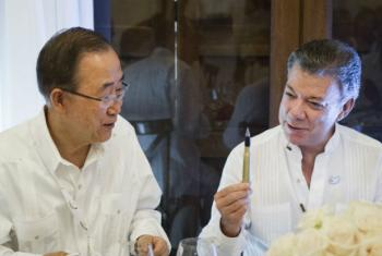 Ban Ki-moon e Juan Manuel Santos em Cartagena (Setembro/2016). Foto: ONU/Rick Bajornas