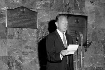 Discurso do ex-secretário-geral da ONU Dag Hammarskjöld de 1959. Foto: ONU