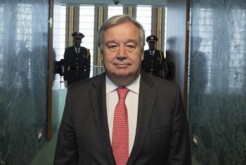 António Guterres em sua chegada à Assembleia Geral da ONU. Foto: ONU/Eskinder Debebe