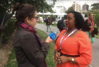Janice da Silva em entrevista à Laura Gelbert. Foto: Rádio ONU