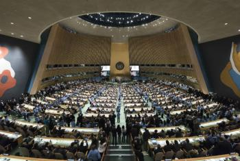 Abertura da cerimônia de assinatura do Acordo de Paris, na sede das Nações Unidas em Nova York, em 22 de abril de 2016. Foto: ONU/Mark Garten