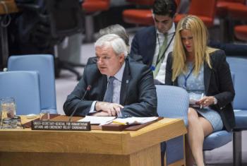 Stephen O'Brien no Conselho de Segurança, nesta segunda-feira, 21 de novembro de 2016. Foto: ONU/Amanda Voisard