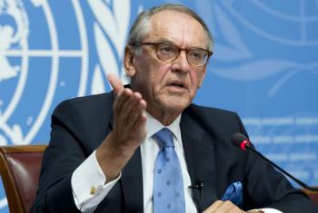 Jan Eliasson em Genebra nesta sexta-feira. Foto: ONU/Jean-Marc Ferré