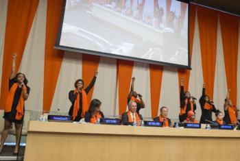 Celebração do Dia Laranja na ONU. Foto: Nações Unidas/Eskinder Debebe