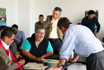 Observadores da Missão da ONU na Colômbia, do Governo colombiano e das Farc-EP. Foto: Missão da ONU na Colômbia