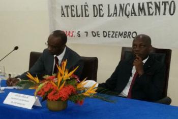 Modibó Touré (esq) e José Mário Vaz (dir). Foto: Rádio ONU/Amatijane Candé