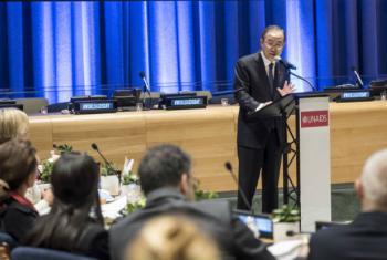 Ban Ki-moon em evento na sede da ONU em Nova York. Foto: ONU/Mark Garten