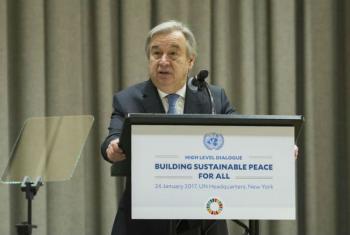 """O secretário-geral da ONU, António Guterres, no evento de alto nível da Assembleia Geral sobre """"Construir Paz Sustentável para Todos"""".Foto: ONU/Manuel Elias"""