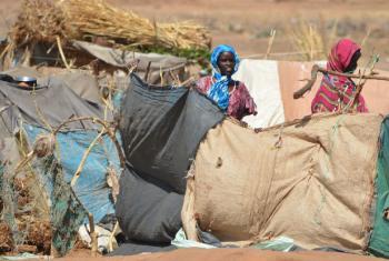 Mulheres deslocadas da área de Jebel Marra em Darfur ao lado de abrigo temporário em Tawilla, Darfur do Norte. Foto: Ocha/Amy Martin