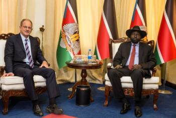 David Shearer e Salva Kiir encontrou-se esta semana com o presidente Salva Kiir em Juba. Foto:Unmiss/Isaac Billy.
