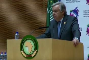 António Guterres na Cimeira da União Africana. Foto: Reprodução vídeo