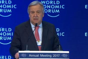 António Guterres discursa no Fórum Econômico Mundial. Foto: Reprodução vídeo