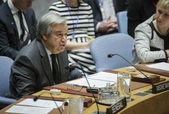 António Guterres, no seu primeiro discurso ao Conselho de Segurança como secretário-geral das Nações Unidas. Foto: ONU/Manuel Elias