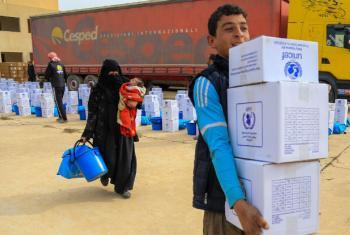 Entrega de assistência alimentar em Mossul, no Iraque. Foto: Unicef/Wathiq Khuzaie