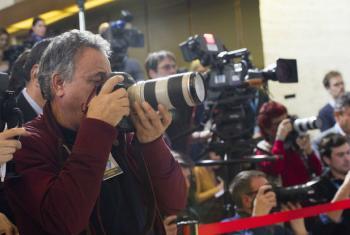 Jornalistas em coletiva de imprensa em Genebra. Foto: ONU/Violaine Martin