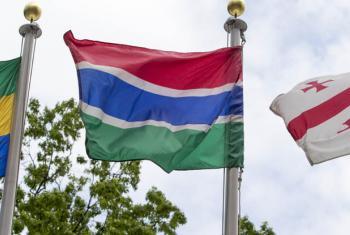 Bandeira da Gâmbia na sede da ONU. Foto: ONU