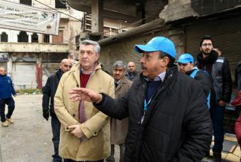O alto comissário da ONU para Refugiados, Filippo Grandi, visita Homs. Foto: Acnur/Bassam Diab