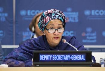 Amina Mohammed em seu primeiro discurso como vice-secretária-geral da ONU. Foto: ONU/Eskinder Debebe