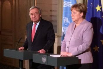 António Guterres e Angela Merkel. Foto: ONU
