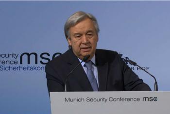 Secretário-geral da ONU, António Guterres, em Conferência de Segurança em Munique, na Alemanha, neste sábado 18 de fevereiro. Imagem: reprodução vídeo.
