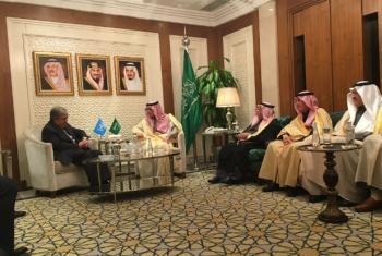 António Guterres com autoridades na Arábia Saudita. Foto: ONU/Stephane Dujarric