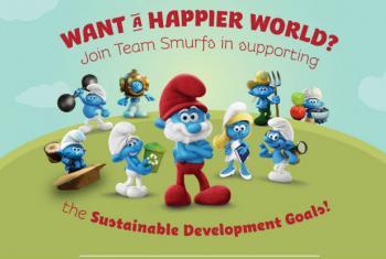 Imagem da campanha dos Smurfs e da ONU, promovendo os Objetivos de Desenvolvimento Sustentável.