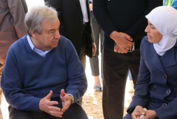 Chefe da ONU já esteve com refugiados em Zatari, na Jordânia.