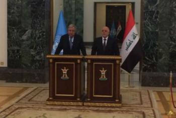O secretário-geral da ONU, António Guterres, manteve encontro com o primeiro-ministro iraquiano, Haider al-Abadi, em Bagdá. Foto: Unami
