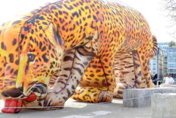 A obra de Eduardo Srur exposta em Genebra. Foto: ONU News/Daniel Johnson