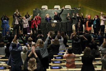 Evento da CSW61 na Assembleia Geral da ONU ,com a atriz, Patricia Arquette.Foto: ONU Mulheres//Ryan Brown