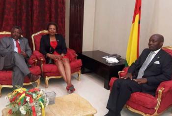 Maria do Carmo Silveira em encontro com autoridades guineenses.Foto: ONU News/Amatijane Candé