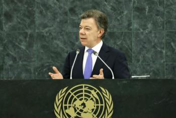 Presidente da Colômbia, Juan Manuel dos Santos durante pronunciamento na Assembleia Geral da ONU. Foto: ONU/arquivo
